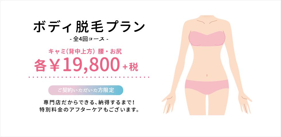 ボディ脱毛プラン キャミ(背中上方)腰・お尻 各¥10,000+税